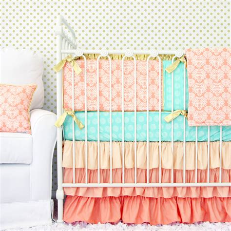 s coral damask crib bedding set by caden