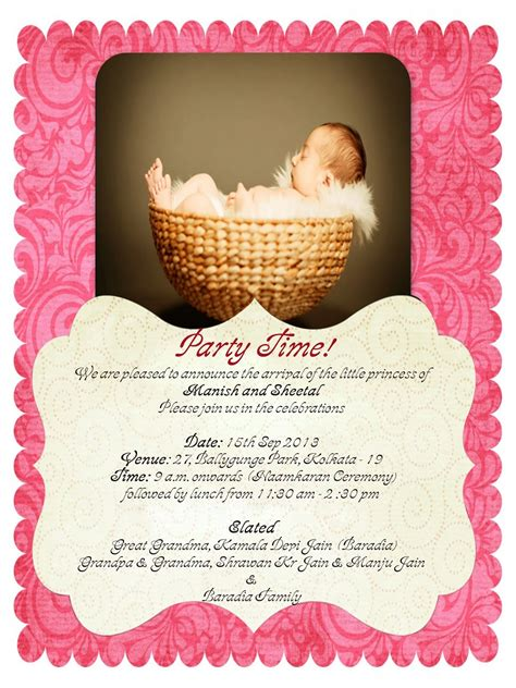 invitation card for name ceremony india hindu baby naming ceremony invitation format yourweek