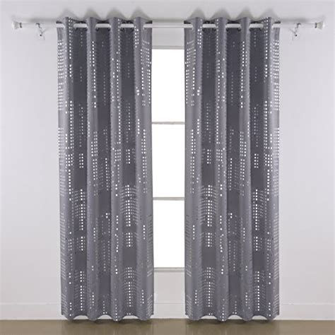 Light Gray Blackout Curtains Deconovo Fashion Square Silver Dots Foil Print On Light Gray Thermal Insulated Blackout Grommet