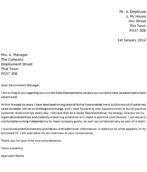 sales rep cover letter letter of application letter of application sle sales