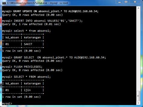 membuat database mysql dari command cara membuat hak akses mysql dengan command prompt