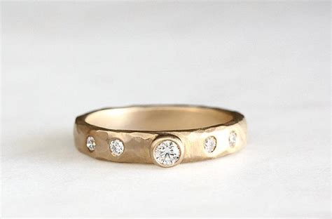 rustic gold wedding ring rustic carved diamond ring 14k gold wedding band