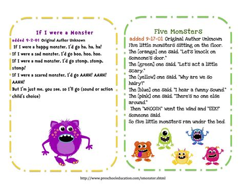 printable toddler songs preschool printables free little monsters songs puppet