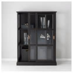 Black Storage Cabinet With Doors Malsj 214 Glass Door Cabinet Black Stained 103x141 Cm Ikea
