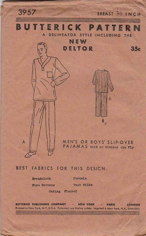 vintage pattern sizing vintage 1923 butterick sewing pattern 3957 mens size 36