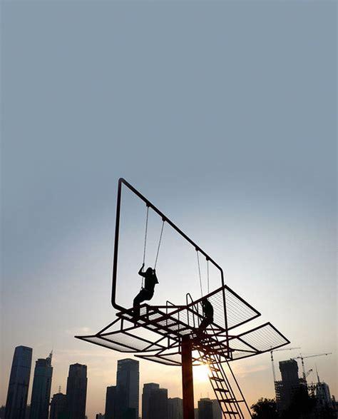 swing kong double happiness billboard swing set colossal