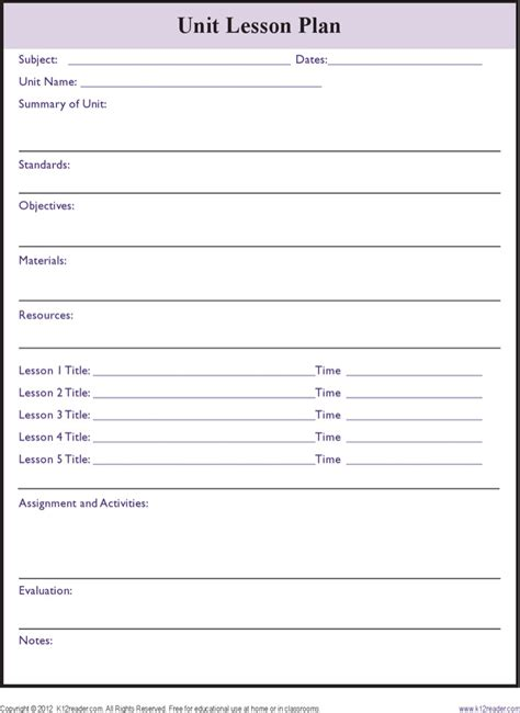printable unit lesson plan template printable lesson plan templates download free premium