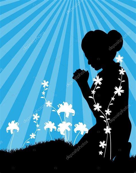 imagenes orando de rodillas ilustraci 243 n de una mujer orando vector de stock