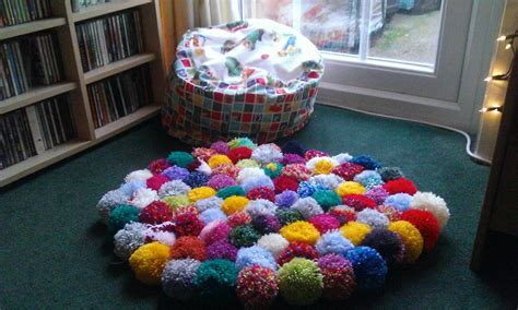 pompon rug pom pom rug decoration for a more cheerful and colorful bedroom
