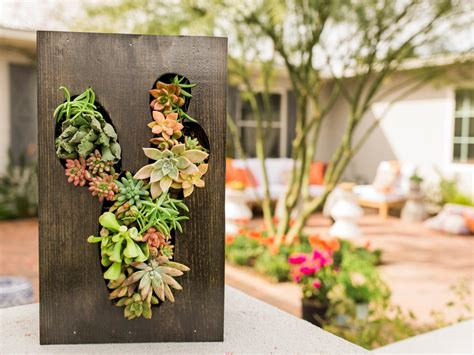 diy vertical cut out planter succulent garden hgtv