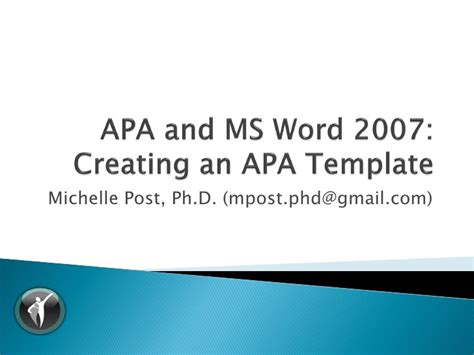 Apa Word Template 6th Edition apa 6th ed ms word 2007 template tutorial v1