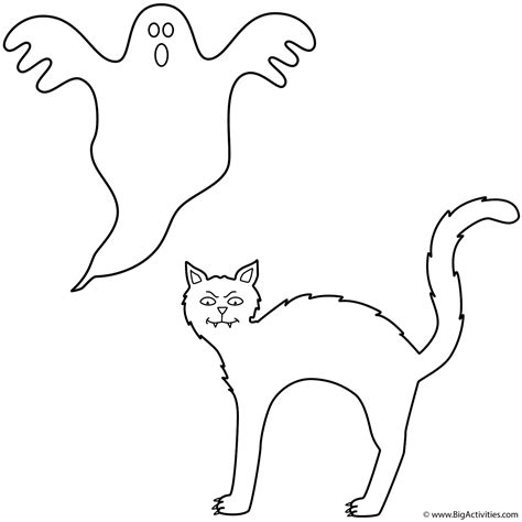 coloring pages of a black cat for halloween black cat with ghost coloring page halloween