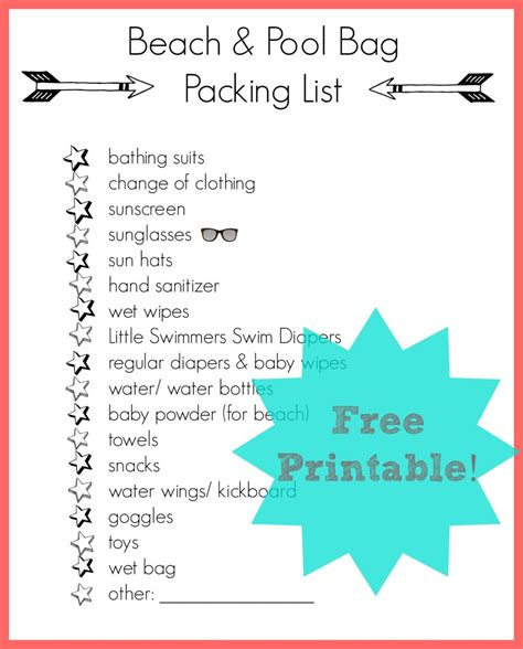 packing list brought to you by caroline see all packing list posts free printable beach bag packing list making lemonade