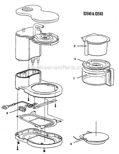 mr coffee parts diagram mr coffee jr4 ob parts list and diagram