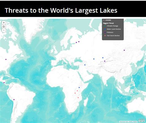 worlds largest lakes map lakes in the world pressure from human and