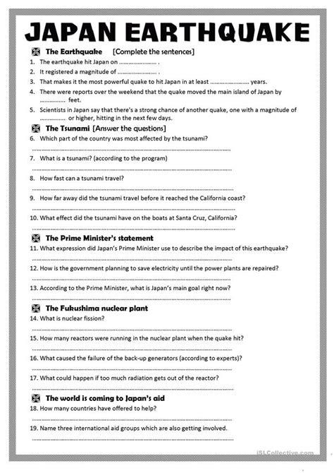 Worksheets On Earthquakes by 26 Free Esl Japan Worksheets