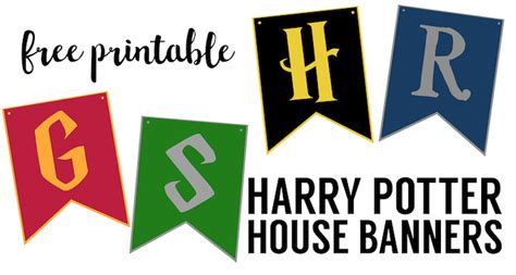 printable hogwarts house banners harry potter house banners free printable paper trail design