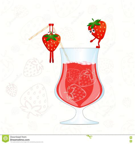martini cocktail cartoon strawberry juice vector funny strawberry cartoon vector