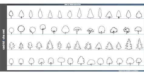 simple cad vegetation cad blocks simple trees in elevation view