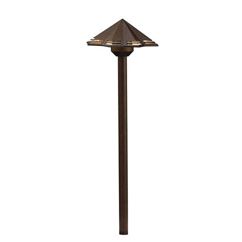 kichler outdoor path lighting kichler 16123tzt30 modern textured tannery bronze led
