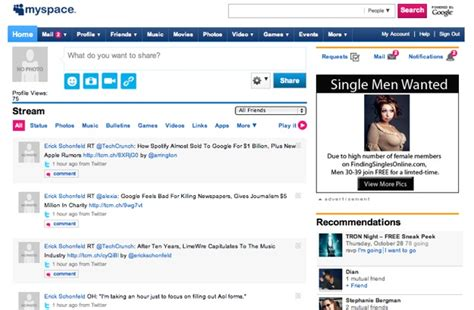 Find On Myspace The Myspace Redesign Is Almost Here Some Details Techcrunch