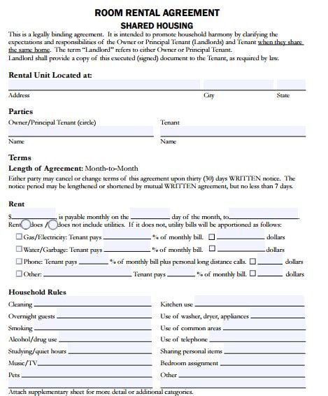 5 Room Rental Agreement Form Templates Formats Exles In Word Excel Room Rental Form Template
