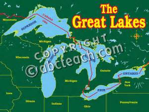 clip great lakes map 1 color labeled abcteach