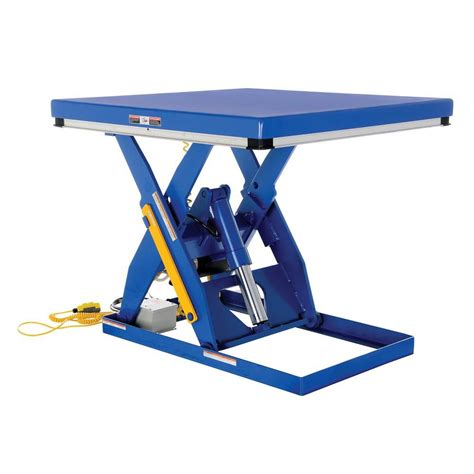 hydraulic scissor lift table vestil 4 000 lb 48 in x 48 in electric hydraulic