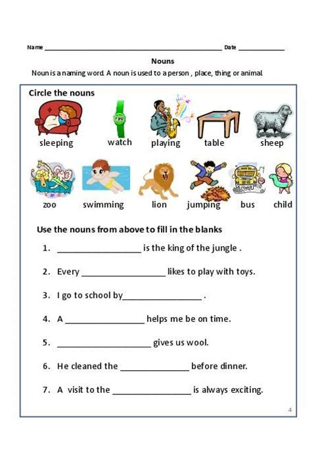 Common Math Worksheets For 2nd Grade by Nouns Exercises For Grade Common Proper Nouns