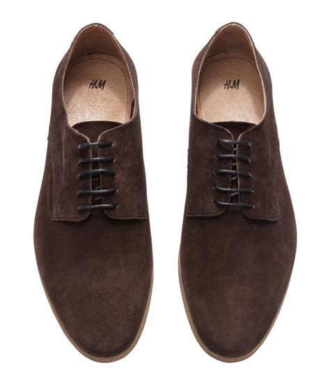 brown shoes for lyst h m suede derby shoes in brown for