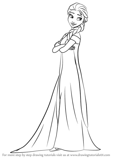 Learn How To Draw Elsa From Frozen Fever Frozen Fever Drawing Pages