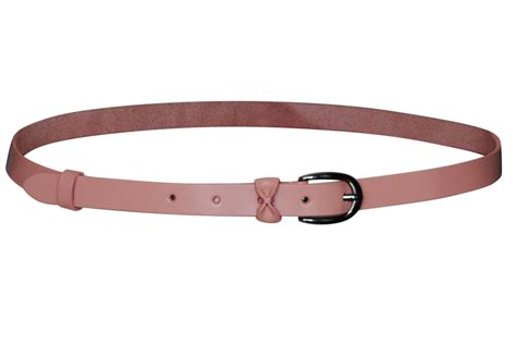 thin leather belt with bow in mauve pink