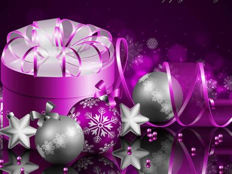 merry christmas  happy  year purple gift box wallpaper hd  desktop