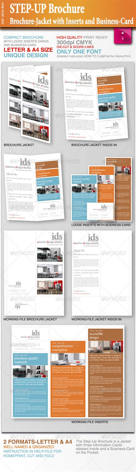 step up brochure with inserts and business card graphicriver