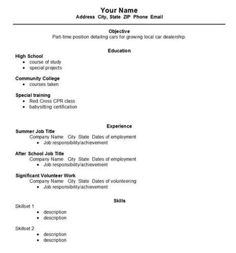 resume for high school students exle high school resume template exle
