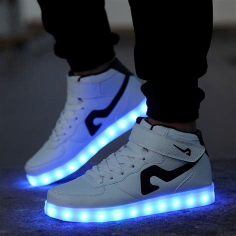 lighting sneakers tlfe 7 colors led light shoes glowing high top casual
