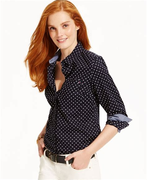 Macy S White Button Blouse by Hilfiger Button Shirt Classic Dot