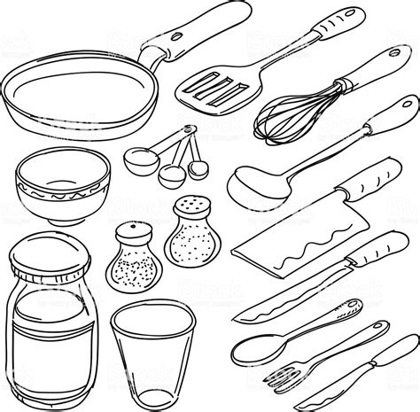 Kitchen Utensils In Sketch Style Stock Vector Art More Images Of Black And White 165811007 Vector Image Black White Sketch
