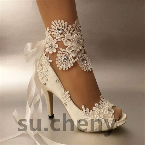 "Details about su.cheny 3"" 4? heel white ivory satin lace"