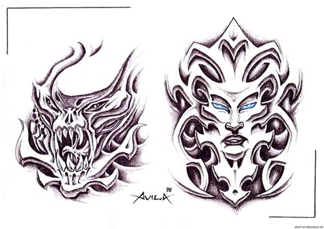 evil tattoo designs for men bio mechanical tattoos