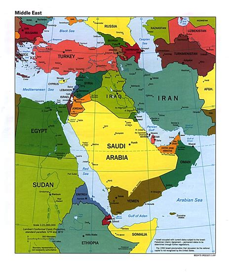 middle east map political middle east political map 1997 size