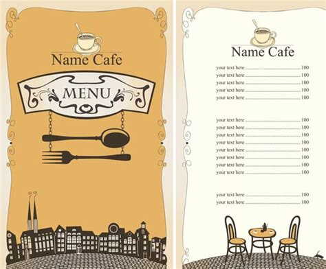 design menu cafe vector 5 restaurant menu in vectorial format