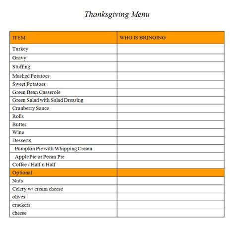 menu checklist template best photos of thanksgiving list template thanksgiving