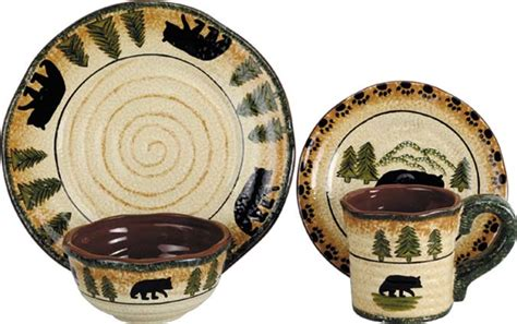 Floral Arrangements For Home Decor rustic bear lodge dinnerware set western kitchen and