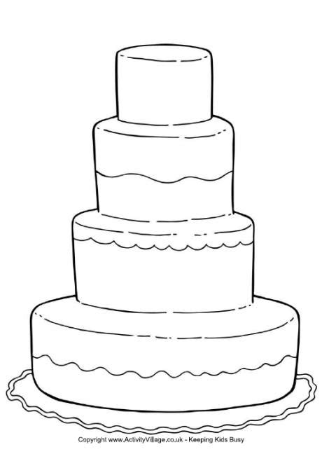 wedding cake coloring page for a kid s activity book for