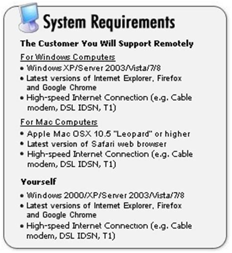 Help Desk Requirements system requirements for remote it support help desk software