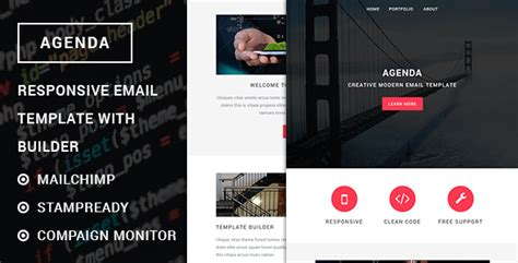 agenda responsive email template with stready builder