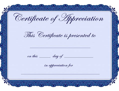 Printable Certificates of Appreciation   Blank Certificates