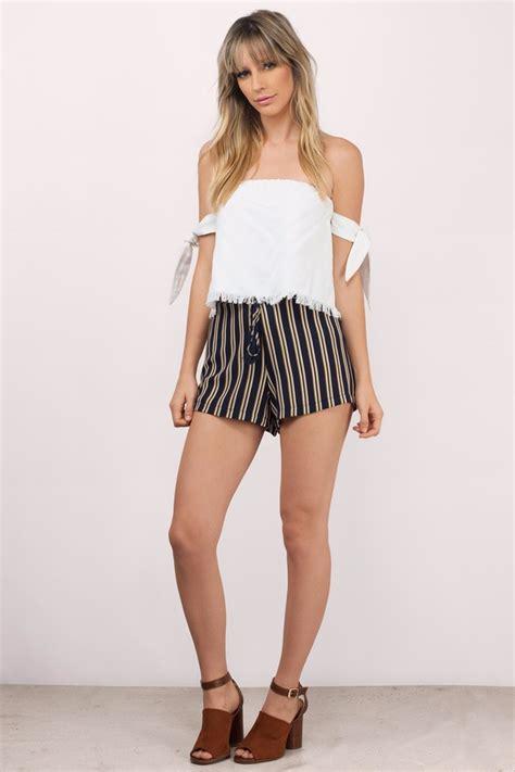 Striped Shorts trendy navy multi shorts high waisted shorts 46 00