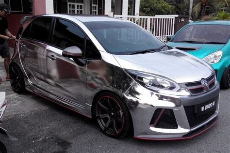car film wrap malaysia gallery proton iriz in chrome sd aerodynamics kit